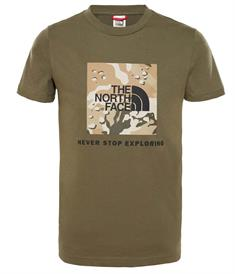 The North Face Box Tee jongens shirt donkergroen