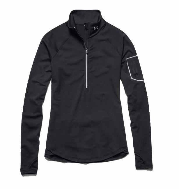 dames sport sweater Under Armour Fly Fast 1-2 zip 1256228.001 DA ZWART