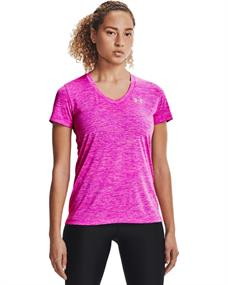 Under Armour Tech Twist V-Neck dames sportshirt pink