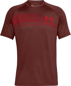 Under Armour UA LOGO WORDMARK TECH SS heren sportshirt steenrood