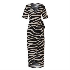 Wow Wrapp dames strand jurk zwart dessin