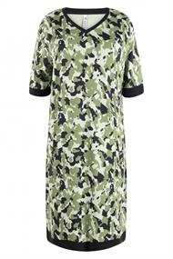 Zoso Mason dames jurk casual groen dessin